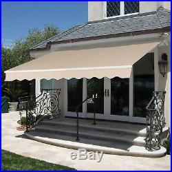 10' 12' 13' Patio Window Awning Retractable Manual Polyester Sunshade Aluminum