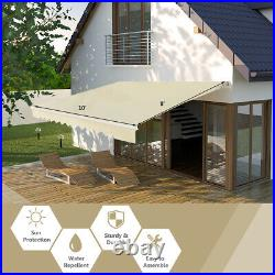 10'×8' Retractable Patio Awning Aluminum Deck Sunshade Shelter Outdoor Beige
