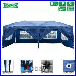 10'X20' Pop Up Gazebo Waterproof Canopy Garden Awning Party Tent Blue With2 Doors