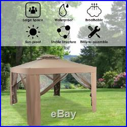 10'x 10' Canopy Gazebo Tent Shelter Garden Lawn Patio WithMosquito Netting Coffee