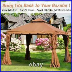 10 x 10 Deck Tent Netted Zip Gazebo with Mesh Sidewalls and Removable Curtains