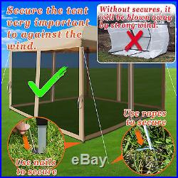 10' x 10' Easy Pop Up Canopy Tent Gazebo with Mesh Side Walls Screen House