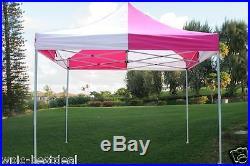 10' x 10' Pop Up Canopy Party Tent Gazebo EZ Pink White E Model