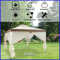 10 x 10 ft Canopy Gazebo Tent Shelter Garden Lawn Patio w Mosquito Netting Beige