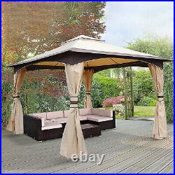 10' x 12' Outdoor Patio 2-tier roof Gazebo Canopy Steel Frame with Mesh Sidewalls