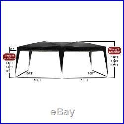 10'x 20' EZ Pop UP Wedding Party Tent Gazebo Canopy withCarry Bag Black