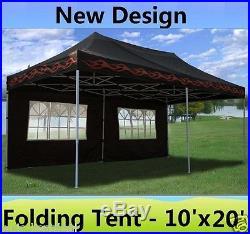 10' x 20' Pop Up Canopy Party Tent Gazebo EZ Black Flame E Model