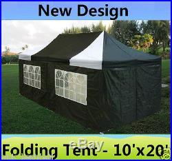 10' x 20' Pop Up Canopy Party Tent Gazebo EZ Black White E Model