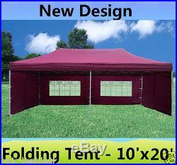 10' x 20' Pop Up Canopy Party Tent Gazebo EZ Maroon E Model