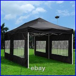 10 x 20 ft Pop Up Folding Canopy Tent Black Waterproof Gazebo Car Shelter Large
