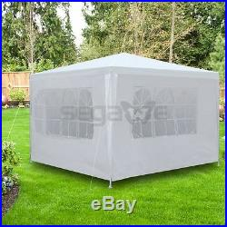 10'x10' Canopy Party Tent Outdoor Wedding Cater Gazebo With 4 Side Walls White