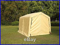 10'x10'x8'FT Storage Logic Shelter Car Garage Steel Carport Canopy Tent Beige