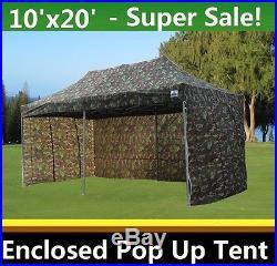 10'x20' Enclosed Pop Up Canopy Party Folding Tent Gazebo Camouflage E Model