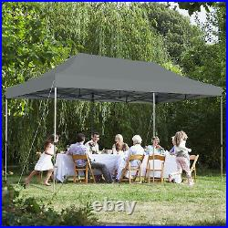 10'x20' Pop up Canopy Tent Folding Heavy Duty Sun Shelter Adjustable WithBag Grey