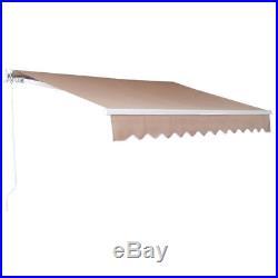 10'x8'DIY Manual Patio Awning Deck Retractable Shade Sun Shelter Canopy