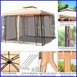10X10ft Metal Gazebo With Mosquito Netting Canopy Gazebo 2 Tier Vented Gazebo Top