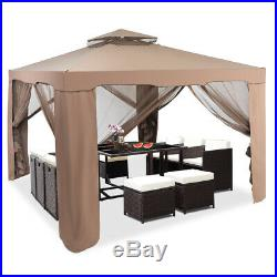 10x 10 Canopy Gazebo Tent Shelter WithMosquito Netting Outdoor Patio Coffee