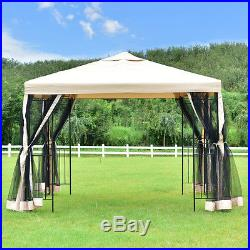 10x10 Gazebo Canopy Shelter Patio Wedding Party Tent Outdoor Awning WithNetting