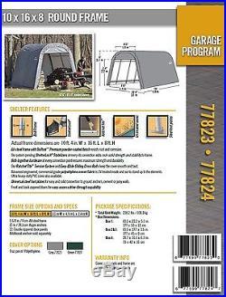 10x16x8 Round ShelterLogic Snow Shedding Portable Garage Canopy Carport 77824