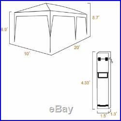10x20 Ft Black Canopy Pop Up Tent Large Shelter Garage Car Storage Wedding Party