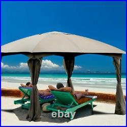 11.5FT Patio Gazebo Canopy Tent Wedding Party Shelter Awning Mosquito Netting