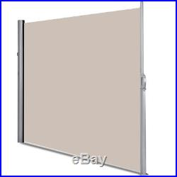 118.5 x 71 Patio Retractable Folding Side Awning Screen Privacy Divider Beige
