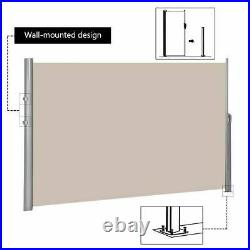 118 x 71 Patio Retractable Folding Side Awning Screen Privacy Divider Beige