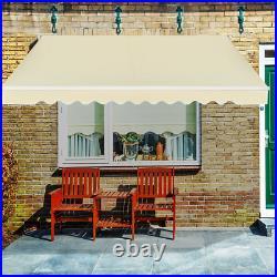 12×10 Retractable Patio Awning Aluminum Deck Sunshade Shelter Outdoor Garden
