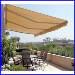 12 Ft Manual Patio Retractable Awning Shade Canopy Sun Protection Outdoor Sand
