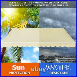12' x 10' Retractable Patio Awning Aluminum Deck Sunshade Shelter Outdoor Beige