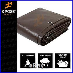 12' x 40' Super Heavy Duty 16 Mil Brown Poly Tarp Cover Thick Waterproof