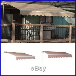 12'x10'DIY Manual Patio Awning Deck Retractable Shade Sun Shelter Outdoor