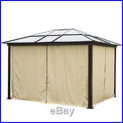 12'x10' Gazebo Canopy Net Hardtop Roof Aluminum Outdoor Patio Tent With Mesh Walls
