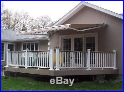 12'x10'Patio Awning Tan Outdoor Deck Manual Retractable Shade Sun Shelter Canopy