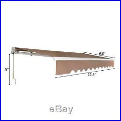 12x10 FT Retractable Patio Manual Awning Canopy Cover Deck Door Outdoor Sunshade