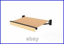 13×11.5FT Tan Manual Retractable Aluminum Patio Cover Awning Canopy, Sunshade