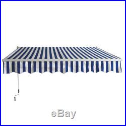 13'8.2'Patio Awning Outdoor Deck Manual Retractable Shade Sun Shelter Canopy BW