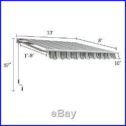 13' X 8' Waterproof Retractable Patio Door Awning Outdoor Canopy Manual
