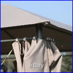 13' x 10' Steel Outdoor Patio Gazebo Pavilion Canopy Tent with Curtains Khaki