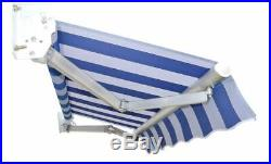 13FT×10FT Awning Cover outdoor Aluminum Patio, Sunshade BLUE AND WHITE STRIPE
