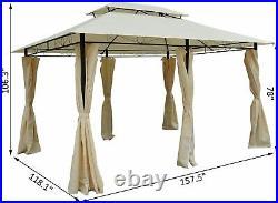 13x10 2-Tier Gazebo with Curtains Outdoor Patio Garden Pergola Arbor Cover Tent