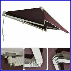 13x8 Ft Retractable Patio Awning Deck Sunshade Canopy Sandy Color Garden Cafe