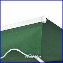 13x8 Manual Retractable Water-resistant Patio Awning Sun Shade Dark Green