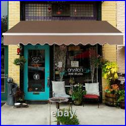 13x8 ft Patio Awning Retractable SunShade Outdoor Canopy Sun Setter Crank Handle