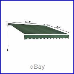 13x8ft Manual Retractable Sun Shade Patio Awning Waterproof Aluminum Frame Dark