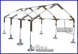 18'x30' Carport Canopy Kit Boat RV Garage 1-3/8 System 8Foot Pads No Poles/Legs