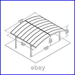 2 Car Storage Carports Canopy Awnings Shade Polycarbonate Roof 19' X 16' X 9