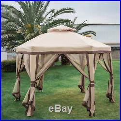 2-Tier 11.8 x 10 Hexagonal Gazebo Canopy Tent Shelter Awning Steel Garden