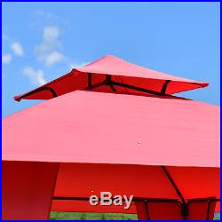 2-Tier 11x11 Gazebo Canopy Shelter Patio Party Tent Awning Side Walls Burgundy