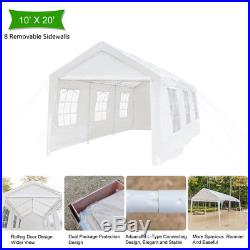 20'x10' White Carport Car Canopy Patio Portable Tent Car Shelter withWindows